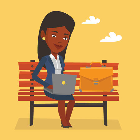 business woman laptop: An african-american business woman working outdoor. Business woman working on a laptop. Young business woman sitting on a bench and working on laptop. Vector flat design illustration. Square layout.