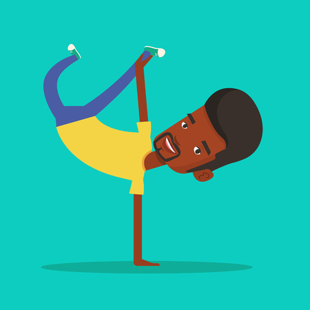break in: An african-american man showing his skills in break dance. Happy break dance dancer doing handstand. Young smiling man dancing. Strong man breakdancing. Vector flat design illustration. Square layout.