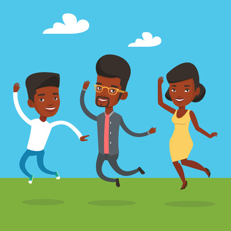 lifestyle outdoors: Group of young african-american friends jumping in the park. Group of cheerful friends having fun and jumping outdoors. Friendship and lifestyle concept. Vector flat design illustration. Square layout