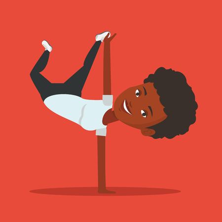 break in: African-american young woman showing her skills in break dance. Happy break dance dancer doing handstand. Young woman dancing. Strong woman breakdancing. Vector flat design illustration. Square layout