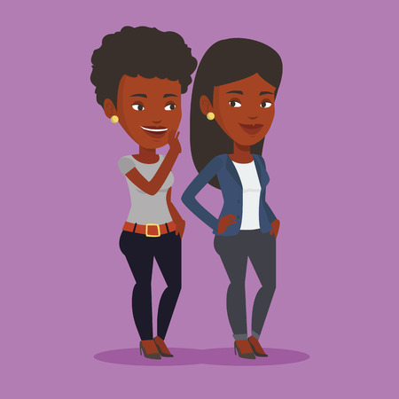 African-american woman shielding her mouth and whispering a gossip to her friend. Two happy women sharing gossips. Smiling friends discussing gossips. Vector flat design illustration. Square layout. Illustration