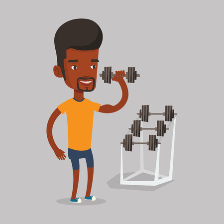sportsman: An african-american sporty man lifting a heavy weight dumbbell. Strong sportsman doing exercise with dumbbell. Weightlifter holding dumbbell in the gym. Vector flat design illustration. Square layout Illustration