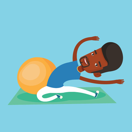 African-american man exercising in the gym. Man doing stretching on exercise mat. Sportsman stretching before training. Man doing stretching exercises. Vector flat design illustration. Square layout.