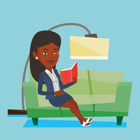 Smiling woman reading a book on a sofa. An african-american woman relaxing with a book on the couch at home. Woman sitting on a sofa and reading a book. Vector flat design illustration. Square layout.