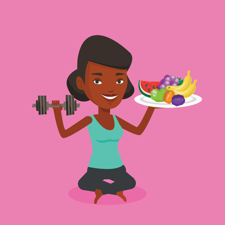 Healthy woman with fruits and dumbbell. An african woman holding fruits and dumbbell. Woman choosing healthy lifestyle. Healthy lifestyle concept. Vector flat design illustration. Square layout. Illustration
