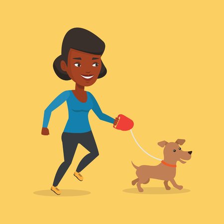 dog walking: An african-american young woman with her dog. Happy woman taking dog on walk. Smiling woman walking with her small dog on leash. Vector flat design illustration. Square layout. Illustration