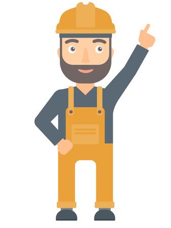 Caucasian worker in hard hat pointing up with finger and having an idea. Hipster worker showing up by finger and indicating at something. Vector flat design illustration isolated on white background