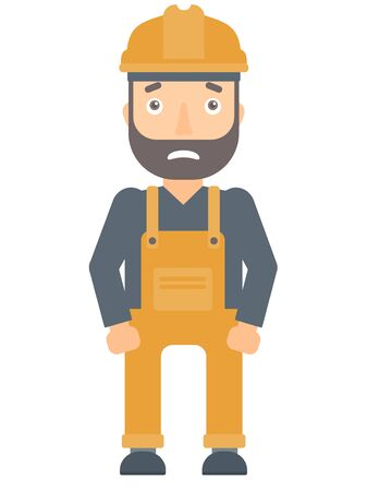 terrified: Scared industrial worker in hard hat. Scared industrial worker having problems at work. Scared builder industrial worker looks terrified. Vector flat design illustration isolated on white background.