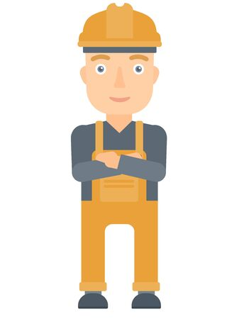 arms folded: Caucasian young builder standing with arms crossed. Confident builder in hard hat. Cheerful builder in overalls standing with folded arms. Vector flat design illustration isolated on white background.