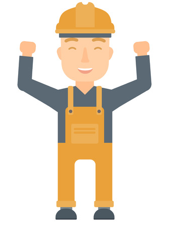 Caucasian male engineer standing with raised arms up. Engineer holding his arms up. Successful engineer standing with outstretched arms. Vector flat design illustration isolated on white background. Stock Illustratie