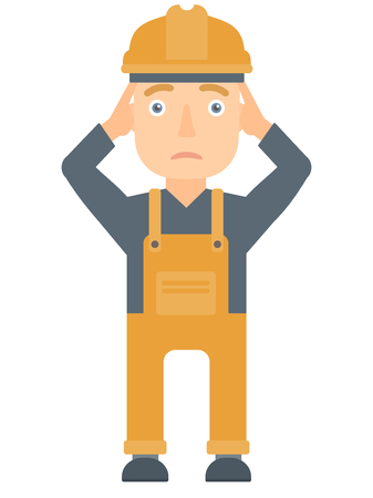 Young sad caucasian builder clutching his head. Depressed builder grabs his head. Mad builder in hard hat holding his hands on a head. Vector flat design illustration isolated on white background. Illustration