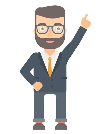 came: Caucasian businessman pointing up with his finger and having idea. Hipster businessman came up with business idea. Business idea concept. Vector flat design illustration isolated on white background. Illustration