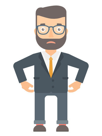 disappoint: Depressed caucasian businessman in suit. Sad hipster businessman standing with his hands on hips. Young businessman having depression. Vector flat design illustration isolated on white background. Illustration