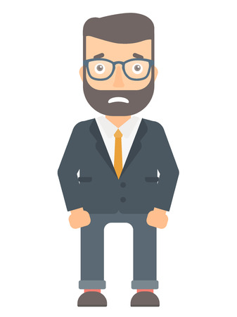 embarrassment: Caucasian businessman feeling embarrassment. Full length of hipster embarrassed businessman. Young businessman expressing embarrassment. Vector flat design illustration isolated on white background.