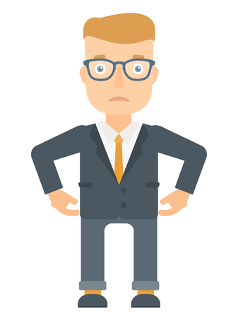 sad businessman: Depressed caucasian businessman in suit. Sad businessman standing with his hands on hips. Young businessman having depression. Vector flat design illustration isolated on white background.