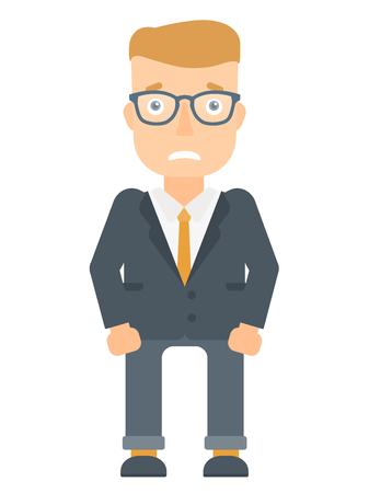 Caucasian businessman feeling embarrassment. Full length of embarrassed young businessman. Young businessman expressing embarrassment. Vector flat design illustration isolated on white background. Illustration