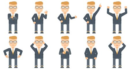 Successful caucasian businessman standing with raised arms up. Businessman celebrating business success. Business success concept. Set of vector flat design illustrations isolated on white background. Vectores