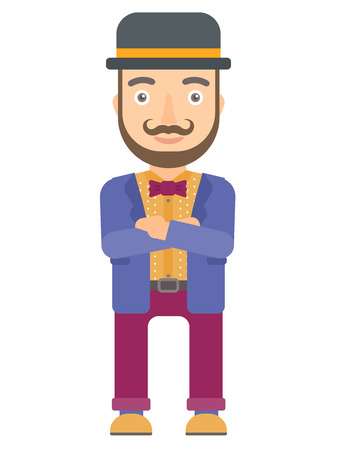 comedian: Caucasian circus performer standing with arms crossed. Circus performer with folded arms. Circus performer standing with folded arms. Vector flat design illustration isolated on white background. Illustration