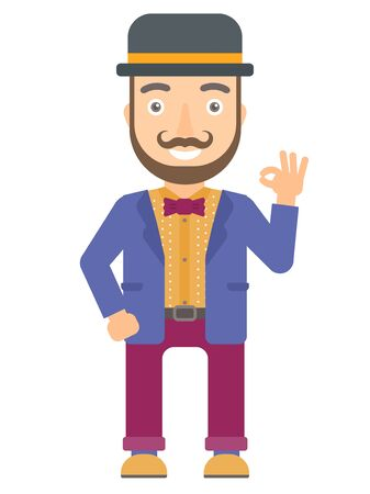 the performer: Caucasian smiling circus performer showing ok sign. Cheerful circus performer making ok sign. Happy circus performer gesturing ok sign. Vector flat design illustration isolated on white background.