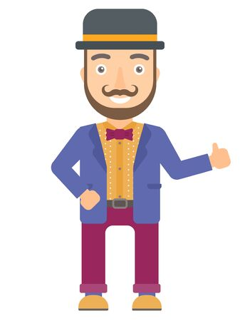 bowler hat: Hipster caucasian circus actor in bowler hat giving thumb up. Smiling circus actor with thumb up. Cheerful circus actor showing thumb up. Vector flat design illustration isolated on white background