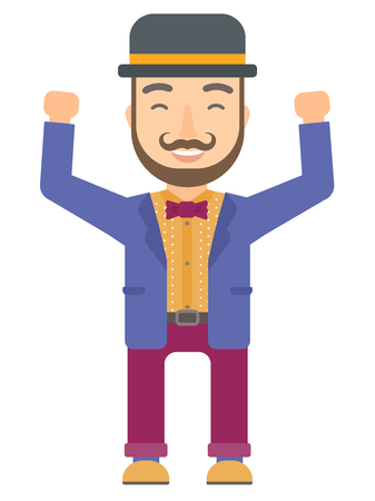 Successful caucasian circus performer in bowler hat standing with raised arms up. Circus performer celebrating success with raised arms. Vector flat design illustration isolated on white background.