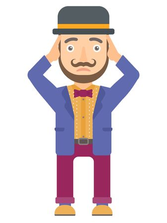 Caucasian stressed circus actor clutching his head. Worried circus actor grabs his head. Sad circus actor holding his hands on a head. Vector flat design illustration isolated on white background.