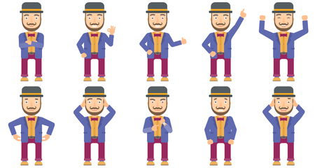bowler hat: Caucasian smiling circus performer showing ok sign. Cheerful circus performer making ok sign. Circus performer gesturing ok sign. Set of vector flat design illustrations isolated on white background. Illustration