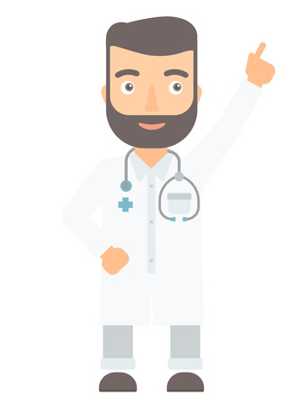 man pointing up: Friendly hipster doctor in medical gown showing finger up. Young caucasian doctor with finger up. Man in doctor uniform pointing finger up. Vector flat design illustration isolated on white background