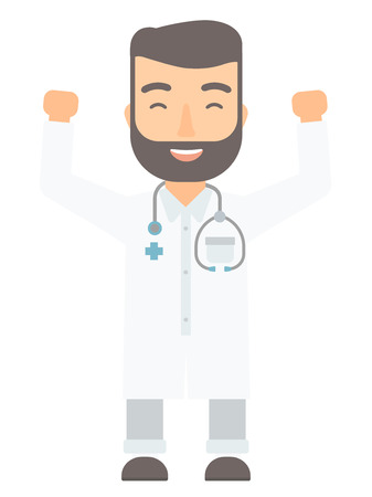Caucasian doctor standing with raised arms up and eyses closed. Doctor celebrating success with arms up. Excited doctor holding arms up. Vector flat design illustration isolated on white background. Illustration