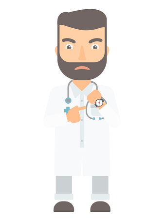 checking: Angry caucasian head doctor pointing at wrist watch and time. Aggressive hipster head doctor checking time of coming of latecomer employee. Vector flat design illustration isolated on white background Illustration