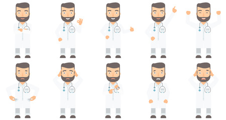 gesture set: Doctor in medical gown showing ok sign. Smiling doctor with sthetoscope gesturing ok sign. Caucasian doctor with ok sign gesture. Set of vector flat design illustrations isolated on white background.