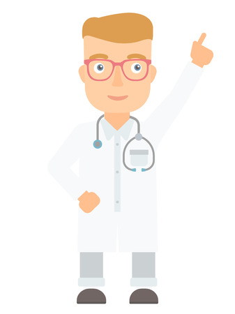 man pointing up: Friendly doctor in medical gown showing finger up. Young caucasian doctor with finger up. Man in doctor uniform pointing finger up. Vector flat design illustration isolated on white background.