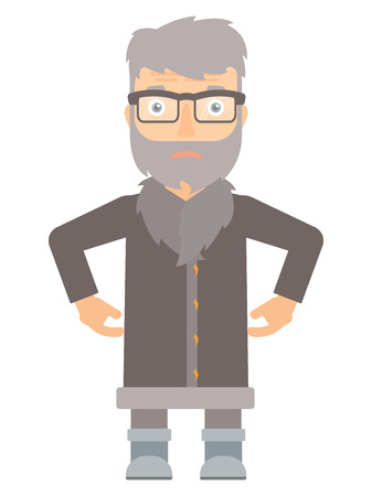 thighs: Disappointed hipster north man with the beard standing with arms on his thighs. Upset north man wearing warm winter clothing. Vector flat design illustration isolated on white background. Illustration