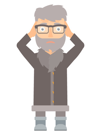 unshaven: Stressed hipster north man clutching his head. Worried north man grabs his head. Sad circus actor holding his hands on a head. Vector flat design illustration isolated on white background. Illustration