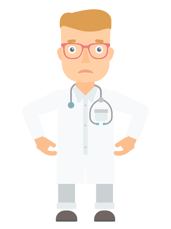 medicaid: Young depressed caucasian doctor. Sad doctor standing with his hands on hips. Doctor with stethoscope looking upset and having depression. Vector flat design illustration isolated on white background.