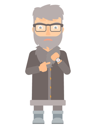 unshaven: Angry north man pointing at watches. Annoyed hipster north man with beard pointing at watches and time. Anxious north man checking time. Vector flat design illustration isolated on white background.