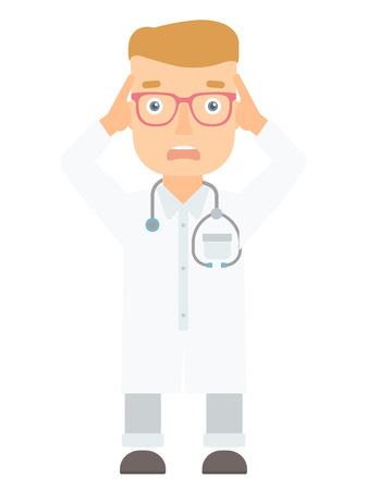 Young caucasian scared doctor screaming. Frightened medical doctor with stethoscope. Scared doctor in white coat clutching his head. Vector flat design illustration isolated on white background. Ilustração