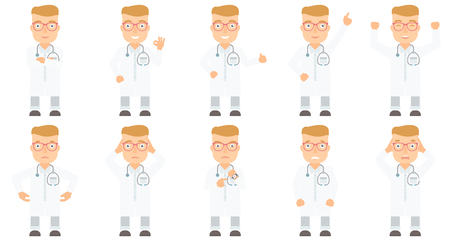 empty pocket: Caucasian broke doctor showing his empty pockets. Doctor turning empty pockets inside out. Poor doctor pulling out empty pocket. Set of vector flat design illustrations isolated on white background.