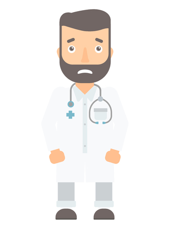 Caucasian medical doctor feeling embarrassment. Embarrassed medical doctor with stethoscope. Young hipster doctor expressing embarrassment. Vector flat design illustration isolated on white background