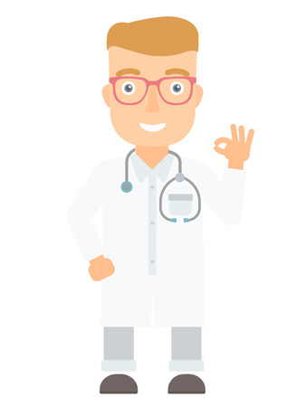 Doctor in medical gown showing ok sign. Smiling doctor with stethoscope gesturing ok sign. Young caucasian doctor with ok sign gesture. Vector flat design illustration isolated on white background.