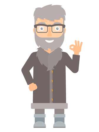 unshaven: Caucasian smiling north man showing ok sign. Cheerful bearded north man making ok sign. An adult happy north man gesturing ok sign. Vector flat design illustration isolated on white background.