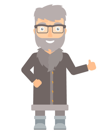 unshaven: Happy hipster north man giving thumb up. Smiling bearded north man with thumb up. Cheerful north man in sheepskin coat showing thumb up. Vector flat design illustration isolated on white background