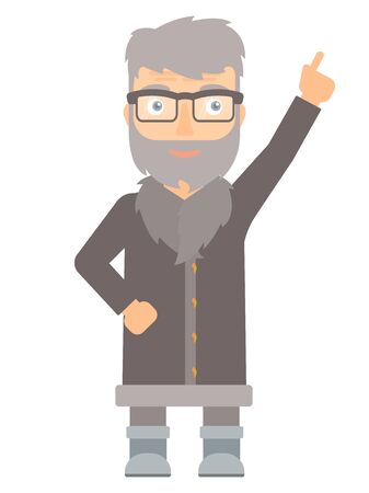 man pointing up: North man pointing up with his finger and having an idea. North man in sheepskin coat showing up by his finger and indicating at something. Vector flat design illustration isolated on white background