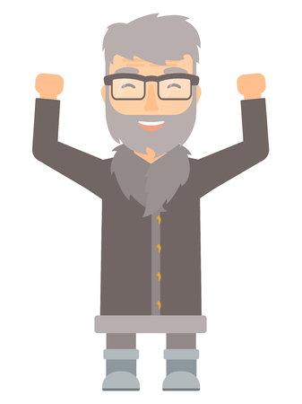 Successful north man in warm winter clothing standing with raised arms up. Smiling north man celebrating success with with raised arms. Vector flat design illustration isolated on white background.