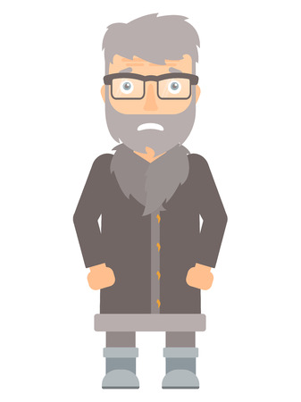 North man feeling embarrassment. Embarrassed hipster north man with the beard. An adult north man expressing embarrassment. Vector flat design illustration isolated on white background.
