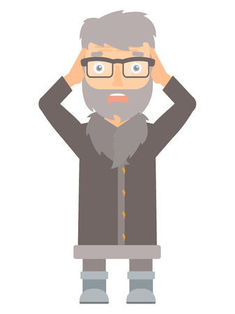 unshaven: Scared north man wearing warm winter clothing. Scared hipster north man with the beard clutching his head. Scared north man grabs his head. Vector flat design illustration isolated on white background