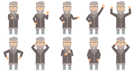 unshaven: Happy north man giving thumb up. Smiling bearded north man with thumb up. Cheerful north man in sheepskin coat showing thumb up. Set of vector flat design illustrations isolated on white background.