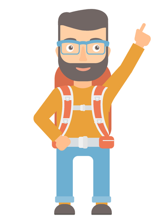 Caucasian tourist pointing with finger to the side. Hipster smiling tourist with backpack showing up by finger and indicating at something. Vector flat design illustration isolated on white background