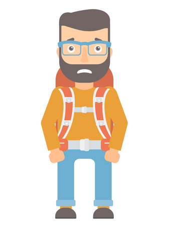 embarrassment: Caucasian hipster tourist with beard feeling embarrassment. Embarrassed young tourist with backpack. Tourist expressing embarrassment. Vector flat design illustration isolated on white background.