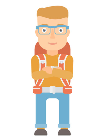 arms folded: Young caucasian tourist standing with arms crossed. Confident tourist with folded arms. Cheerful tourist standing with folded arms. Vector flat design illustration isolated on white background.